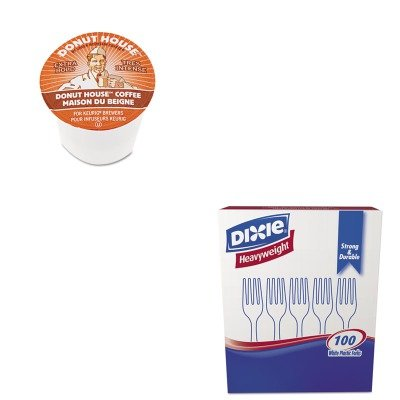 Kitdxefh207Gmt6534 - Value Kit - Green Mountain Coffee Roasters Donut House Coffee K-Cups (Gmt6534) And Dixie Plastic Cutlery (Dxefh207)