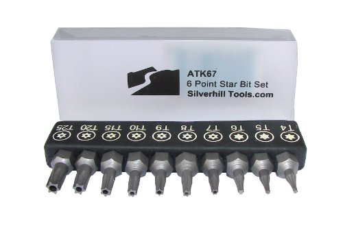 Silverhill Tools Atk67 6 Point Star Bit Set With Security Bits