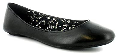 plain black ballerina school shoe black uk