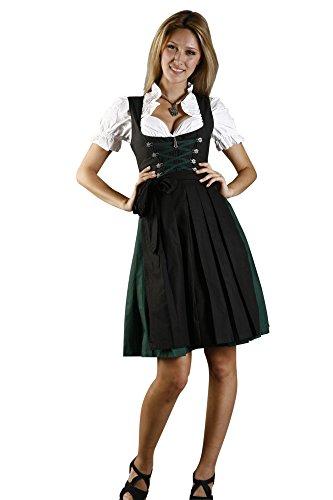 Nostalgisches Mini Dirndl 3-tlg. grün schwarz inkl. passender Bluse und Schürze Gr. 32-58 thumbnail