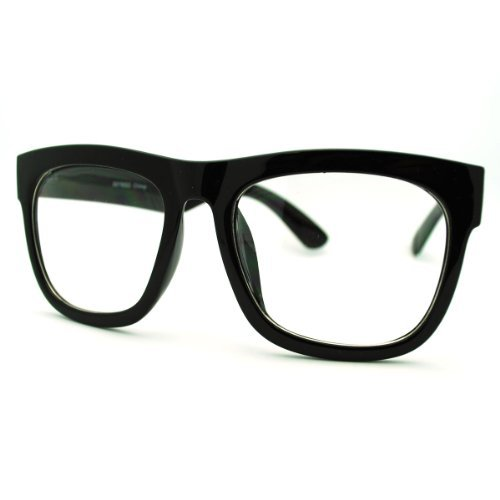 Black Oversized Wayfarer Square Glasses Thick Horn Rim Clear