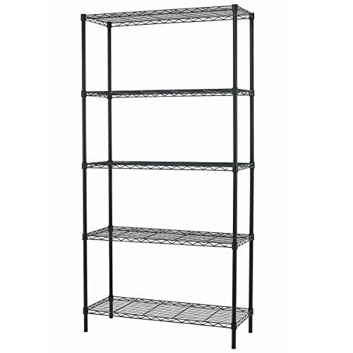 PayLessHere Black 5 Shelf Adjustable Steel Shelving Systems Wire Shelves Garage Shelving Storage Racks (Metal Storage Shelving Unit compare prices)