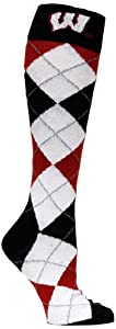 Buy NCAA Wisconsin Badgers Argyle Sock, Black White Red by Donegal Bay