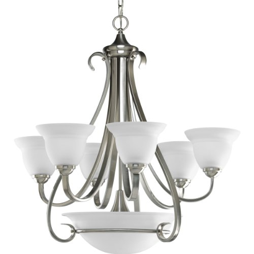 B0034TK202 Progress Lighting P4417-09 6-Light Two-Tier Torino Chandelier, Brushed Nickel
