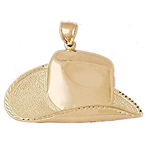 JewelsObsession's 14K Gold Cowboy Hat Pendant by Jewels Obsession
