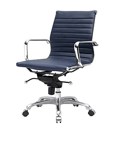 Meelano M344 Office Chair In Navy Blue Vegan Leather