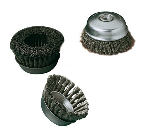 """SAIT 06551 4"""" x .020 x 1-1/8"""" Arbor 5/8-11 Angle Grinder Large Crimped Wire Nut Inside Cup Brush"""
