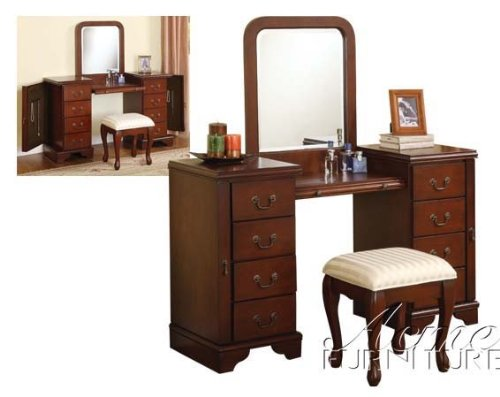 3pc vanity table mirror stool set in cherry finish my for Cheap vanity table set