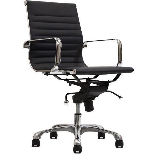 LexMod Ribbed Mid Back Chair in Black Vinyl