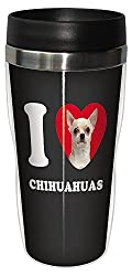 Tree-Free Greetings SG25031 I Heart Chihuahuas Sip N Go Stainless Lined Travel Tumbler, 16-Ounce, White