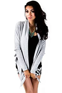 Adjustable Lapelle Cropped Cardigan in Heather Grey