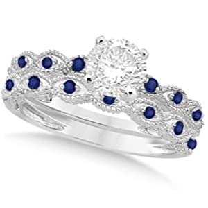 Vintage Diamond and Blue Sapphire Engagement Ring and Wedding Band Bridal Set 14k White Gold 0.95ct