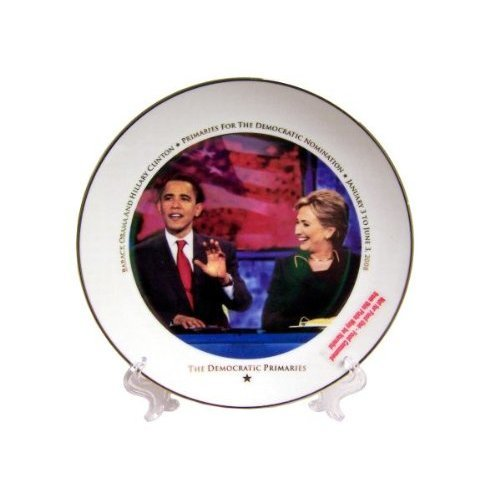 Barack Obama and Hillary Clinton Primaries Commemorative Plate