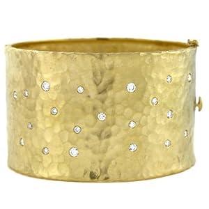 18k Yellow 40.5mm Hammered 1.04ct Diamond Bangle - 7 Inch - JewelryWeb