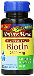 Nature Made Biotin Value Size Liquid Softgel, 2500 mcg, 150 Count