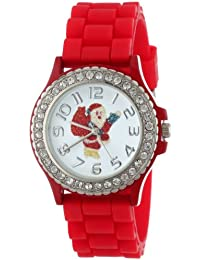 Geneva Women's 5573_xmasredsanta Holiday Boyfriend White Dial With Santa And Crystals Watch