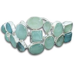 925 Sterling Silver Natural Aquamarine Gemstone Wedding & Anniversary Gift Bracelet Men & Women's Wear Strand Link Toggle Clasp Bracelet 9
