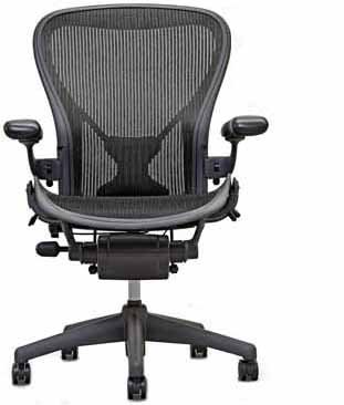41N73D0SMPL Executive Aeron Chair by Herman Miller   Polished Aluminum Frame   Carbon Classic Size C (Large)