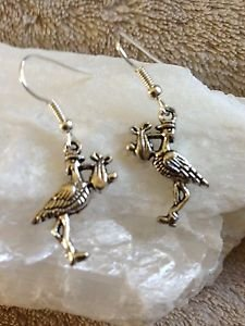 [Stork & Baby Tibetan Silver Earrings (Midwife)] (Midwife Costume For Kids)