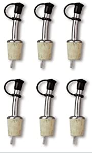 Chrome Plated Bottle Pourer with Cap and Natural Cork - Set of 6 by Taurinex