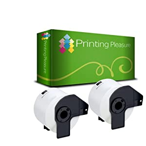 Printing Pleasure - Compatible ( 2 ROLL ) DK22205 For Brother label Printer QL 500 550 560 570 580N 650TD 1050 1060N, WITH FRAME, 62mm*30.48m, Continuous labels