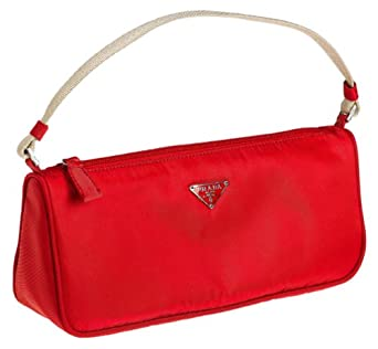 Prada Women's Small Rectangle Nylon Handbag, Red