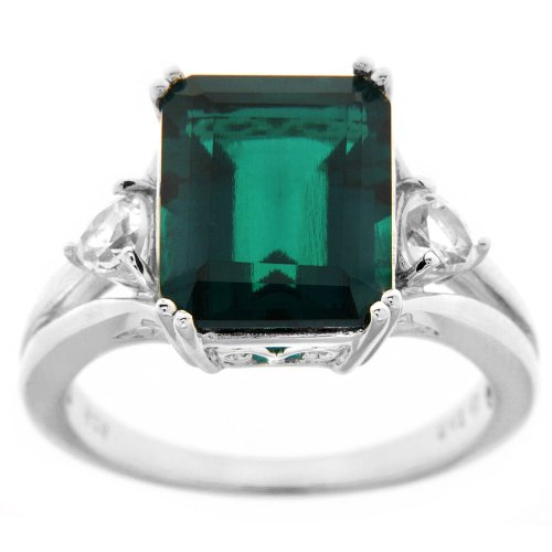 Sterling Silver Lab Created Emerald and Lab Created White Sapphire Ring, Size 6