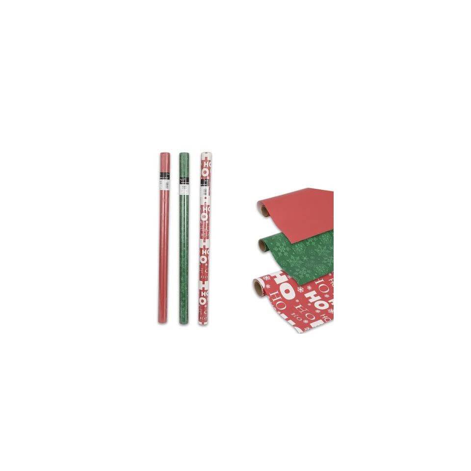 4 Rolls Assorted Christmas Gift Wrap Papers 40 sq ft each
