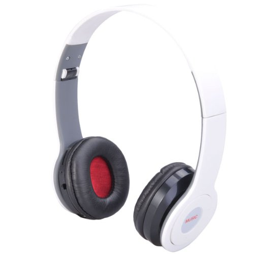 Rechargeable Motion Stereo Sports Folding Headset Headphone Mp3 Player W/ Fm / Sd Slot - Black / White