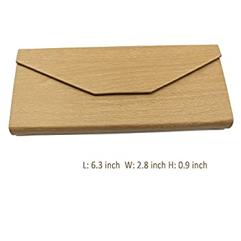 Eyeglasses Case, AMTIK® Vintage Wood Triangular Folding Eyeglasses Case (Natural Wood Grained)