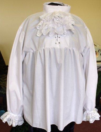 UK Made XL-Camicia da pirata In bianco con pizzo rimovibile, con pieghe a Jabot Yoke. In policotone