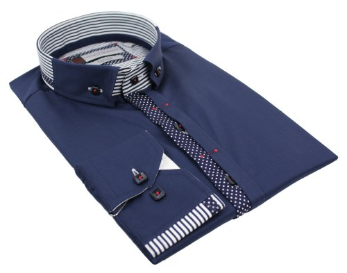 Mens Italian Button Grandad Collar Navy White Trim Shirt Slim Fit Smart or Casual 100% Cotton