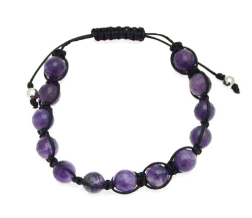 Black Cotton and Amethyst 8mm Bead Bangle Type Adjustable Bracelet