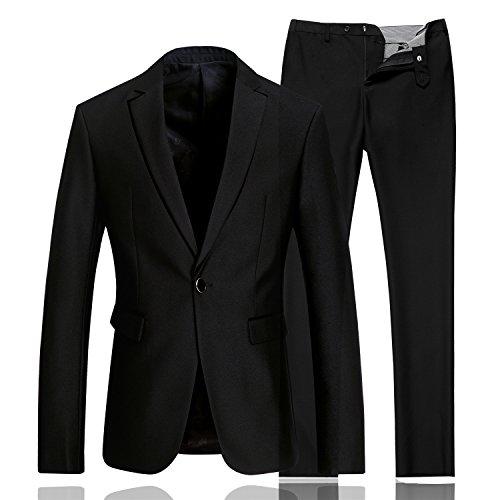 Costume D'affaires Homme Costard Style Décontracté 2 Piece Haut Gamme Noir