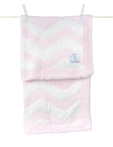 "Little Giraffe Dolce Feather Yarn Chevron Blanket, 29"" x 35"", Pink & White"