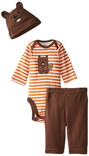 Gerber Baby-Boys Newborn 3 Piece Bodysuit Cap and Pant Set, Orange/Brown Beaver, 12 Months