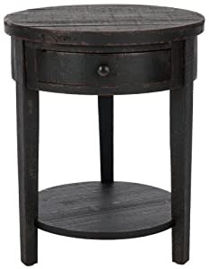 Safavieh American Home Collection Dunwich Black One Drawer Round Side Table