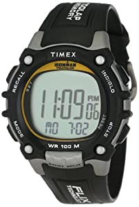 Timex Men's T5E231 Ironman Traditional 100-Lap Silver-Tone/Black Resin Strap Watch