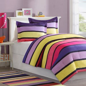 girl purple pink yellow stripe twin comforter