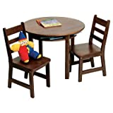 Lipper International 524WN Child's Round Table and 2-Chair set, Walnut