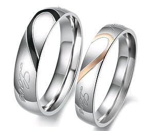 OPK Lover's Heart Shape Titanium Stainless Steel Mens Ladies Promise Ring