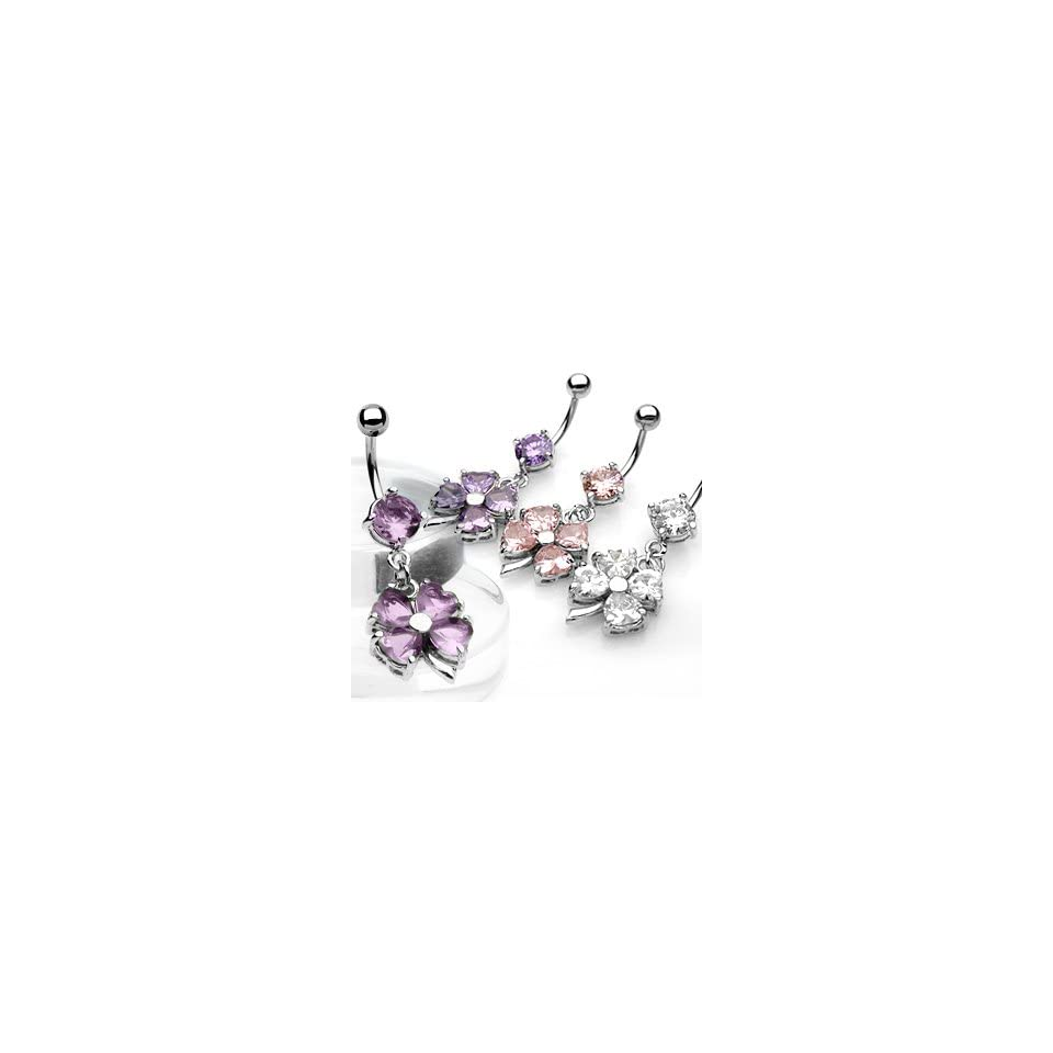 Shamrock [Four Leaf Clover] Belly Ring Dangle with Pink Cubic Zirconia   14G   3/8 Bar Length   Sold Individually