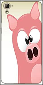 Snoogg Cute Pig Character Designer Protective Back Case Cover For HTC Desire 826