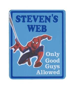 SPIDERMAN Boys Bedroom Door SIGN, Personalized