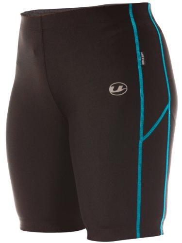 Ultrasport Women's Short Quick-Dry-Function Running Tights - Black/Turquoise, X-Small