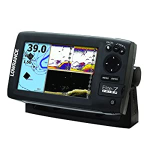 Lowrance Elite-7 Gold CHIRP Fishfinder/Chartplotter with 83/200 KHz and 455/800 KHz Transducer and Navionics Cartography from Lowrance