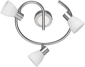 Trio Leuchten LED-Deckenleuchte Carico, nickel matt / chrom, Glas weiß gewischt 871590307