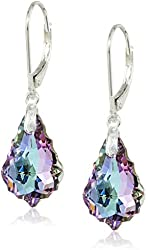 Queenberry Vitrial Light Purple Swarovski Elements Crystal Sterling Silver Leverback Dangle Earrings