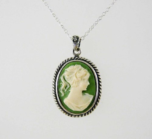 Sterling Silver Royal Rope Cameo Necklace, Green