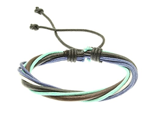 Leather And Cord Strap Bracelet In Green And Blue - 248